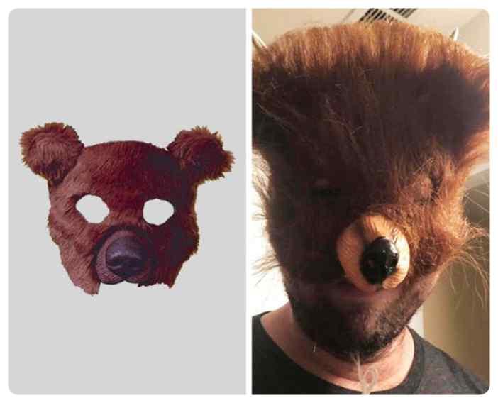 Ya solo por comprar una mascara de oso te mereces que te engañen.