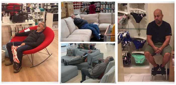 Hombres esperando a que sus parejas terminen de comprar #1 1