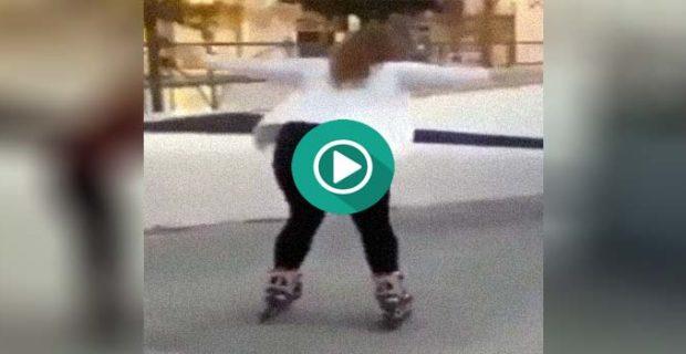 fail patinando 620x320 - La Vane y la Jenni se comen la puerta de un garaje patinando.