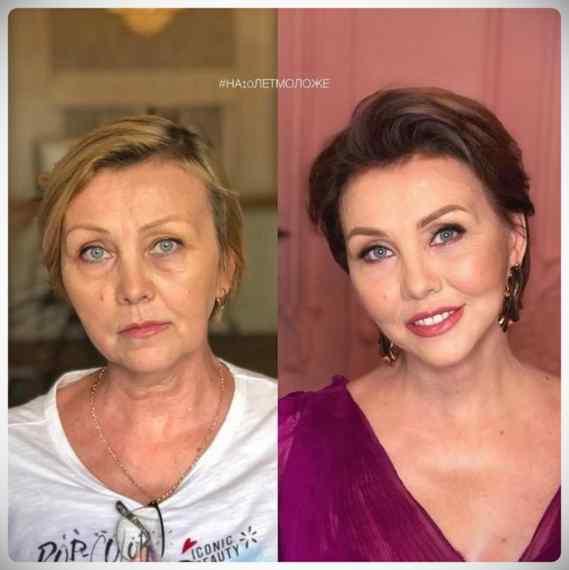 Imágenes de maquillaje profesional, antes y después. 1