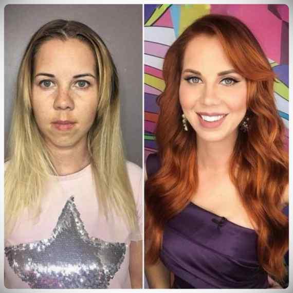 Imágenes de maquillaje profesional, antes y después. 3