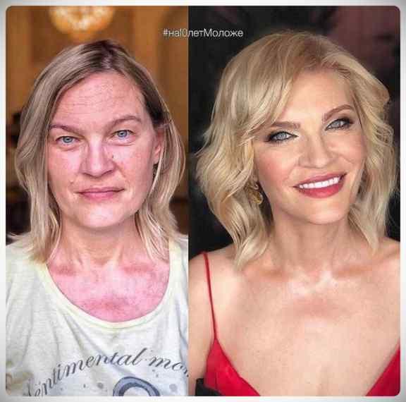 Imágenes de maquillaje profesional, antes y después. 5
