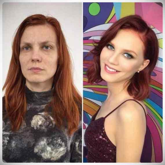 Imágenes de maquillaje profesional, antes y después. 6