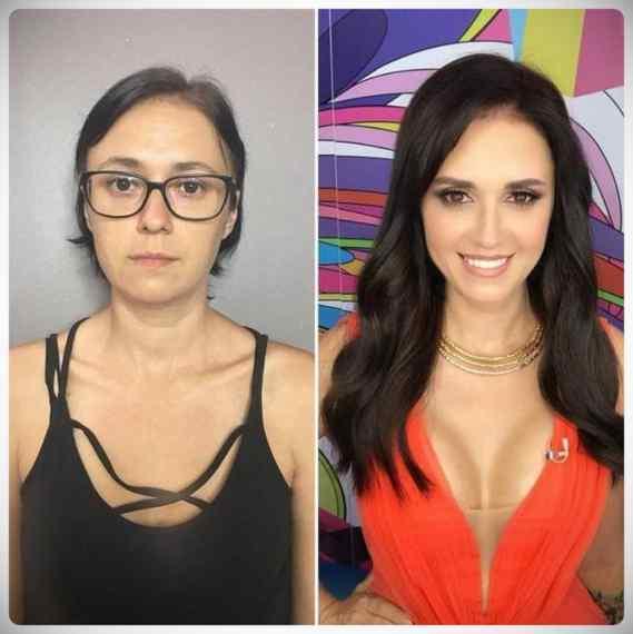 Imágenes de maquillaje profesional, antes y después. 7