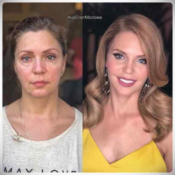 Imágenes de maquillaje profesional, antes y después. 8