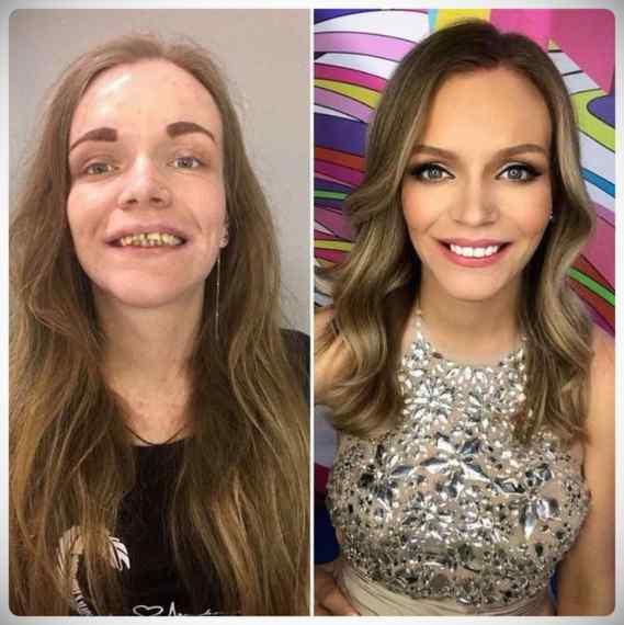 Imágenes de maquillaje profesional, antes y después. 10