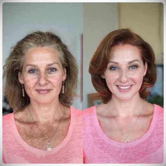 Imágenes de maquillaje profesional, antes y después. 12