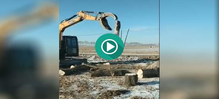 Haciendo malabares con una excavadora.