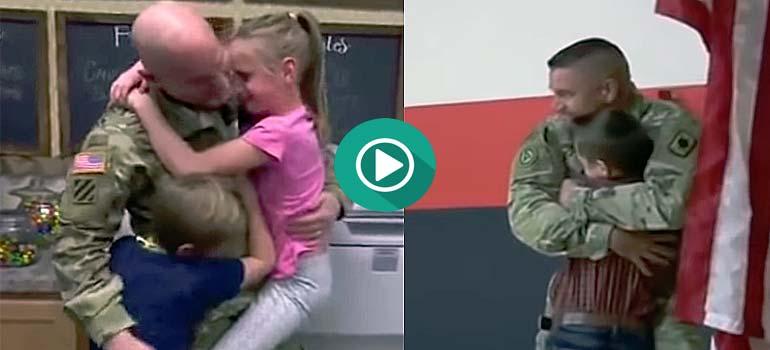 Soldados vuelven a casa y dan una sorpresa a sus hijos. 4