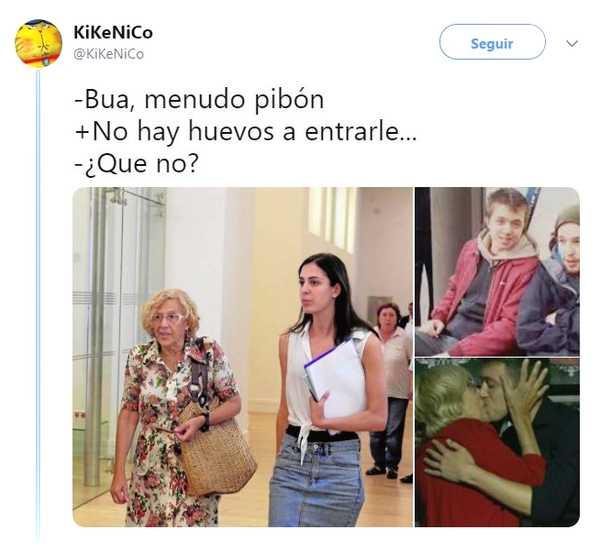 Memes del beso entre Iñigo Errejón y Carmena. 3