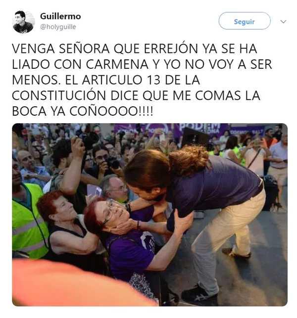 Memes del beso entre Iñigo Errejón y Carmena. 4