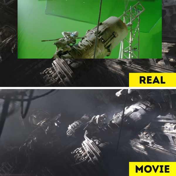 Imágenes de películas antes y después de aplicar los efectos especiales. 13
