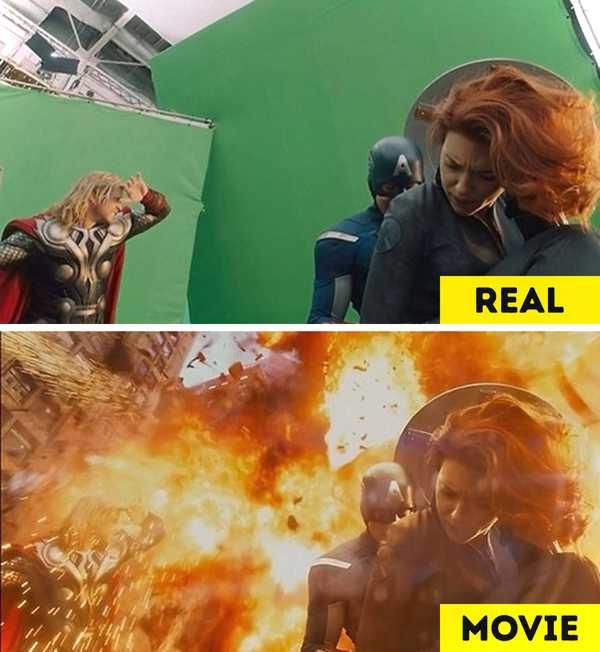 Imágenes de películas antes y después de aplicar los efectos especiales. 15