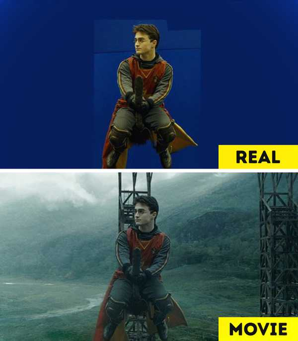 Imágenes de películas antes y después de aplicar los efectos especiales. 18