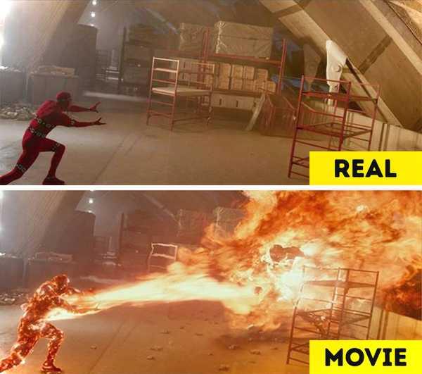 Imágenes de películas antes y después de aplicar los efectos especiales. 19