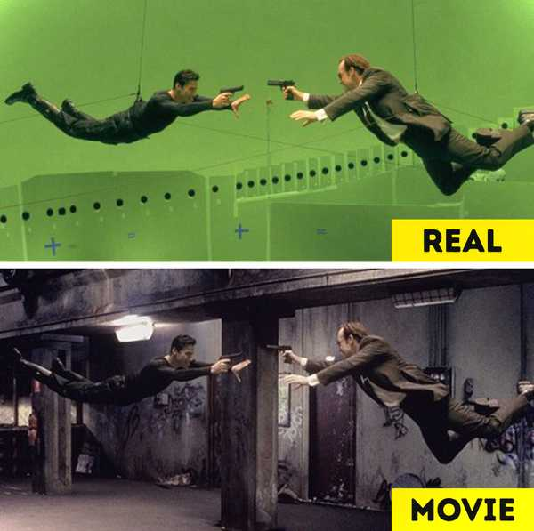 Imágenes de películas antes y después de aplicar los efectos especiales. 20