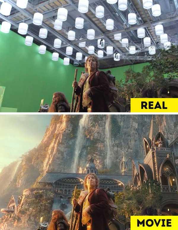 Imágenes de películas antes y después de aplicar los efectos especiales. 1