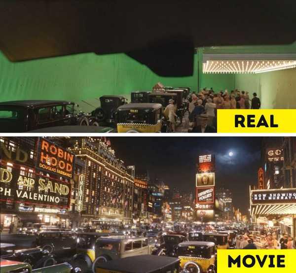 Imágenes de películas antes y después de aplicar los efectos especiales. 2