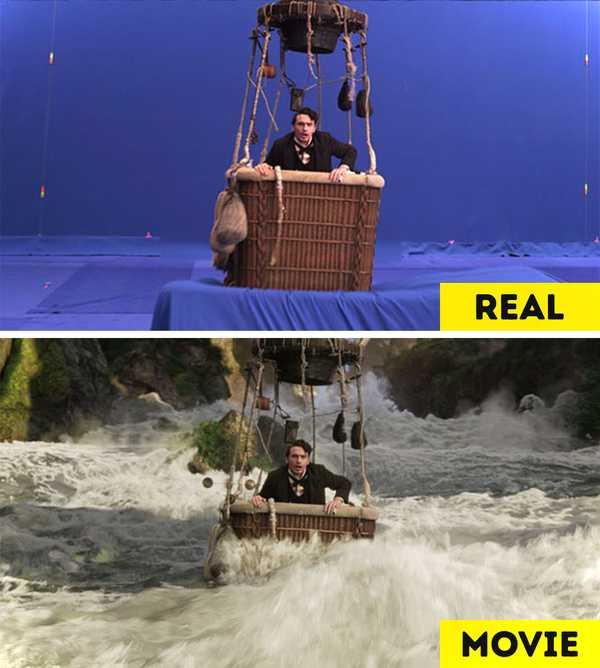 Imágenes de películas antes y después de aplicar los efectos especiales. 4