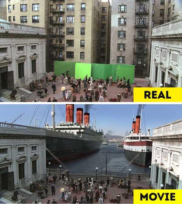 Imágenes de películas antes y después de aplicar los efectos especiales. 5
