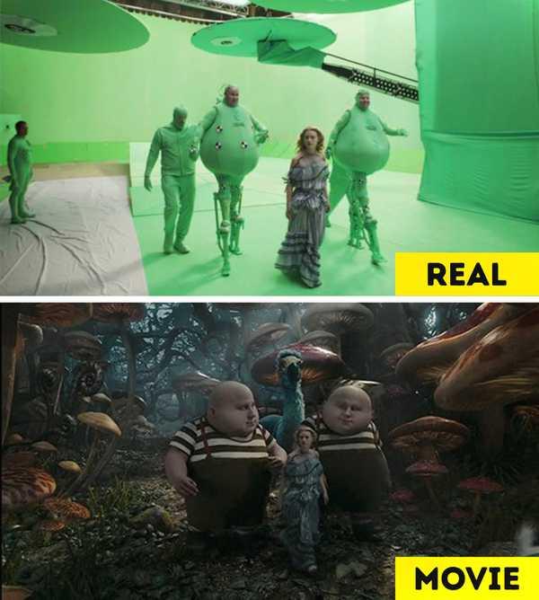 Imágenes de películas antes y después de aplicar los efectos especiales. 7