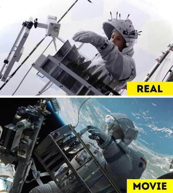 Imágenes de películas antes y después de aplicar los efectos especiales. 8