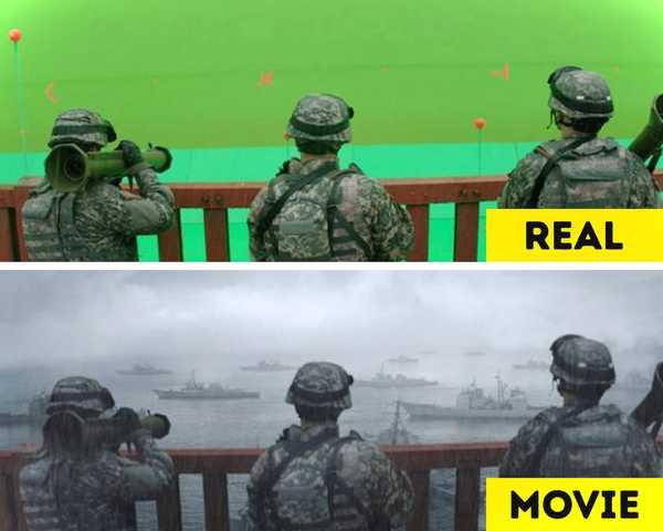 Imágenes de películas antes y después de aplicar los efectos especiales. 9