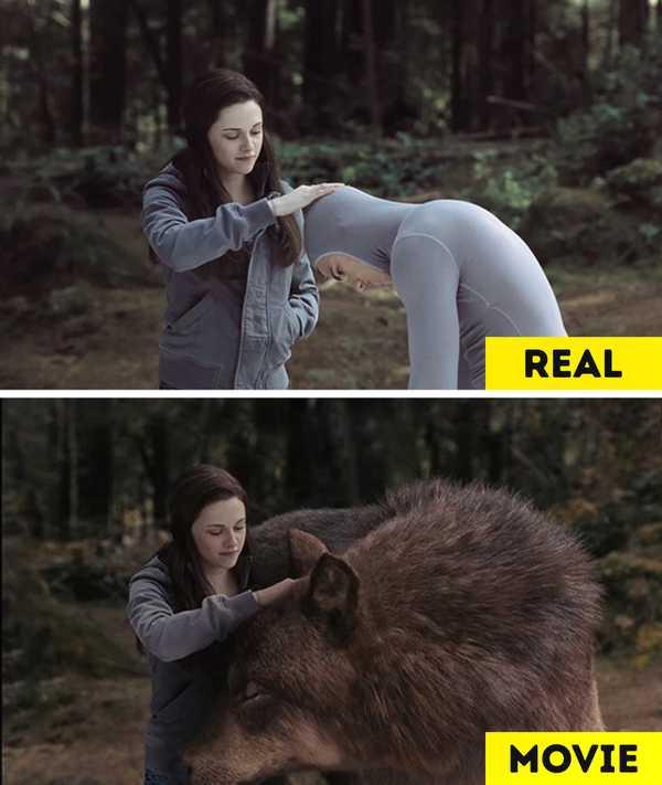 Imágenes de películas antes y después de aplicar los efectos especiales. 10
