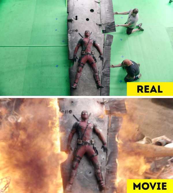 Imágenes de películas antes y después de aplicar los efectos especiales. 11
