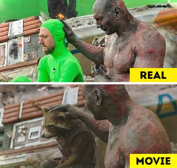 Imágenes de películas antes y después de aplicar los efectos especiales. 12