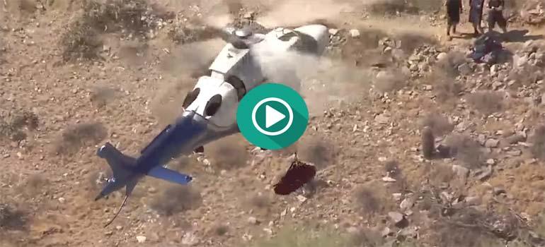 Mareante rescate en helicóptero de una anciana de 74 años en una montaña. 2