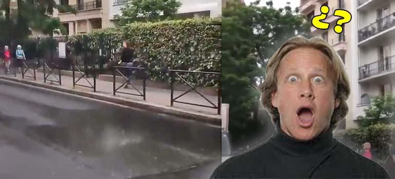 Lo nunca visto, solo llueve en un trocito de la calle. 3