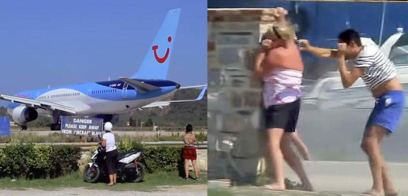 Gente que disfruta colocándose detrás de los aviones al despegar. 1