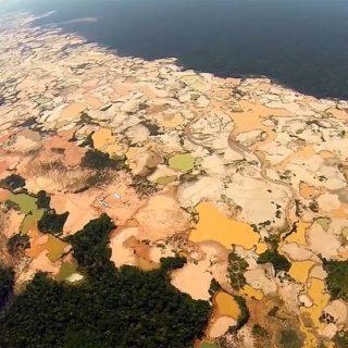 Impresionantes imágenes de como la minería ilegal esta acabando con la selva en Perú.