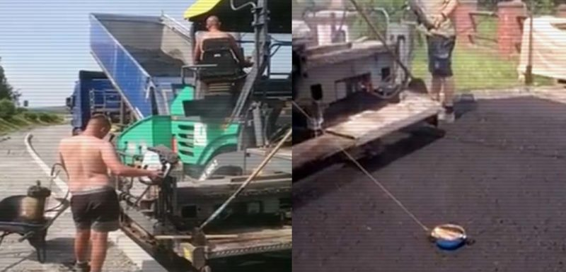 Trabajadores Alemanes aprovechan mientras asfaltan para hacer unas salchichas. 1
