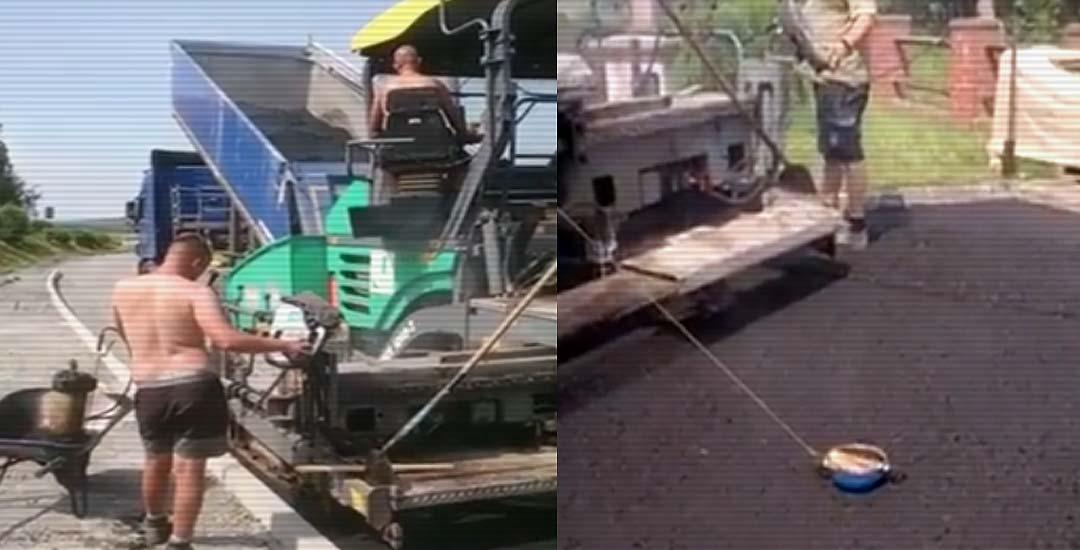 Trabajadores Alemanes aprovechan mientras asfaltan para hacer unas salchichas.