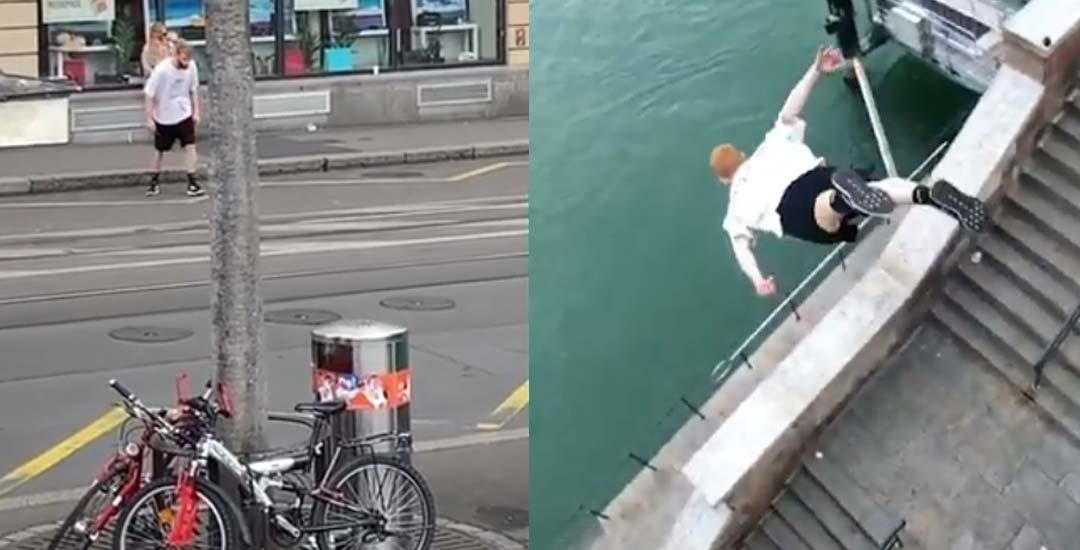 Espectacular salto al río. Vuela sobre los escalones. 5