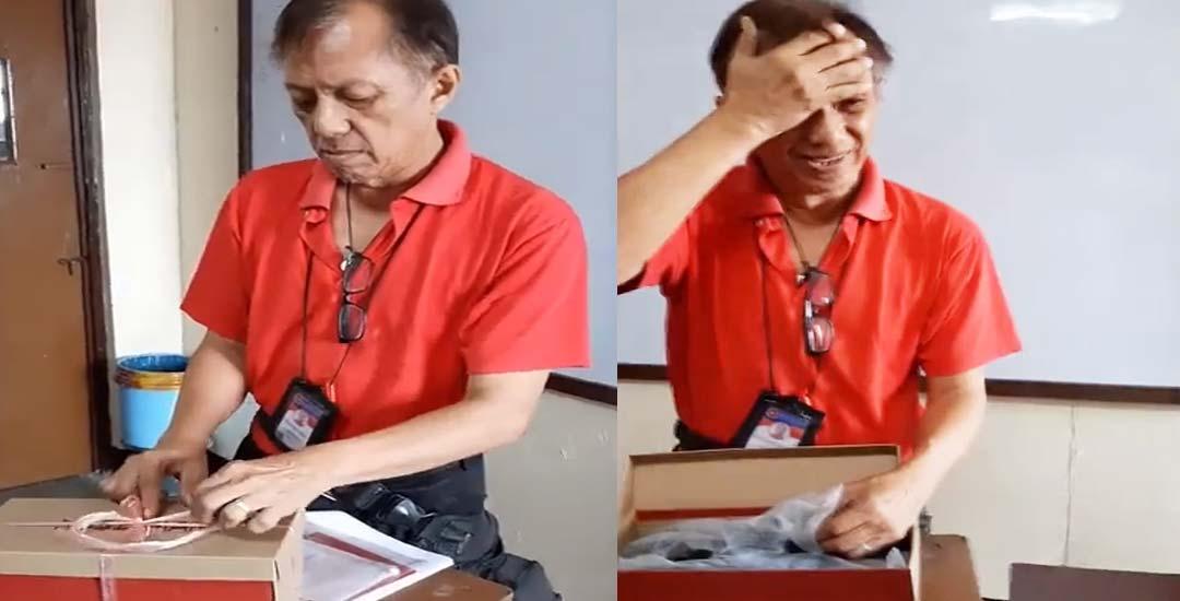 Un maestro llora al recibir un par de zapatos como regalo de sus alumnos. 8