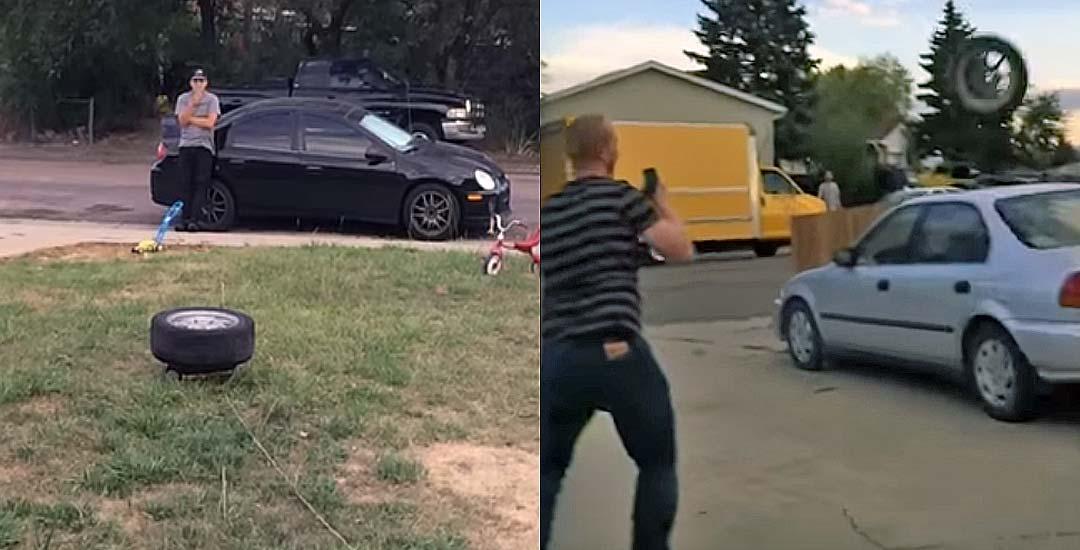 Activan un airbag debajo de una rueda, y descubren que no ha sido buena idea. 5