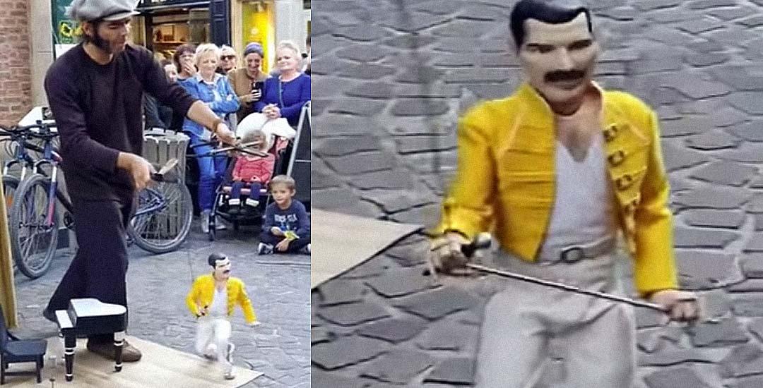Marioneta de Freddie Mercury hace una genial actuación 1