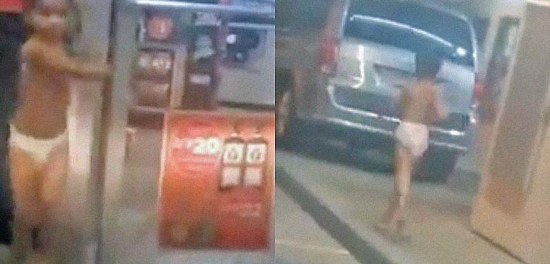 Niño en pañales robando en una tienda en mitad de la noche. 1