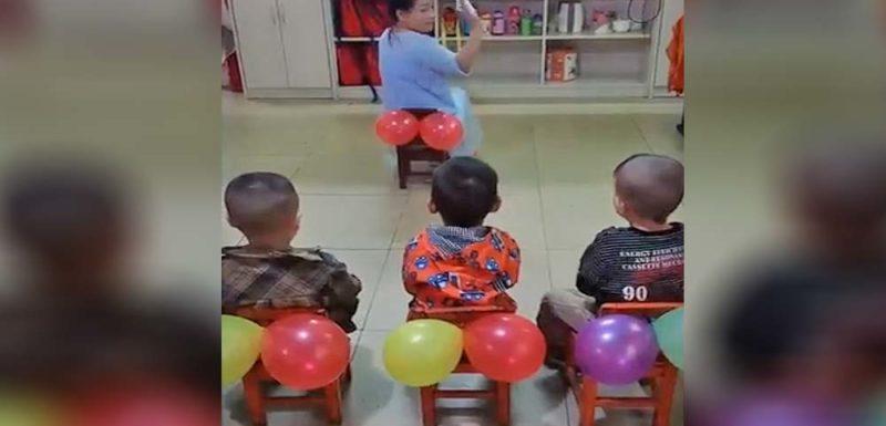 Profesora enseña a los niños como limpiarse con un sistema muy curioso 1