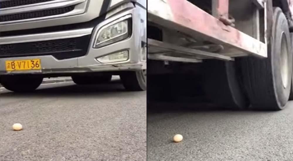 Camionero chino es capaz de pasar por encima de huevo sin romperlo 3