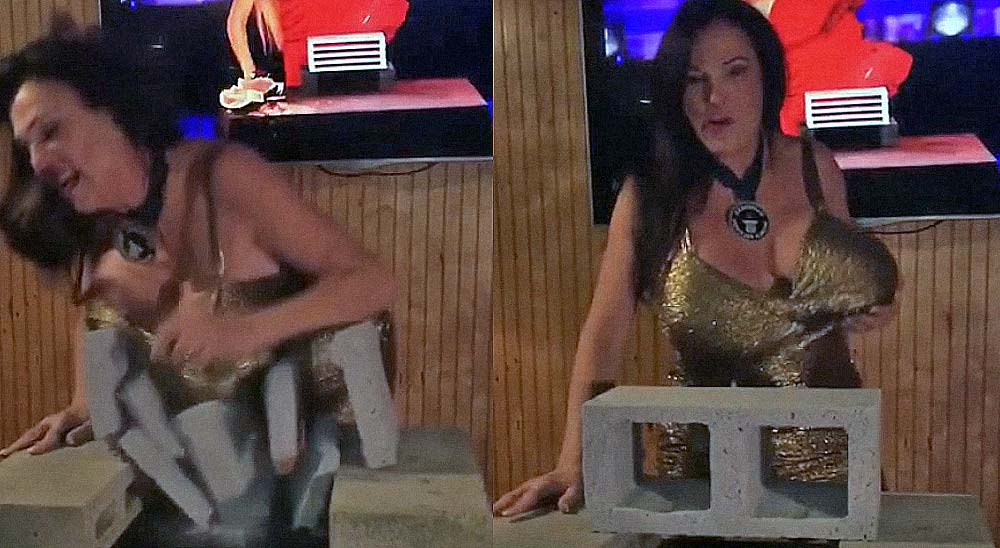 Mujer es capaz de romper cemento usando sus pechos 4