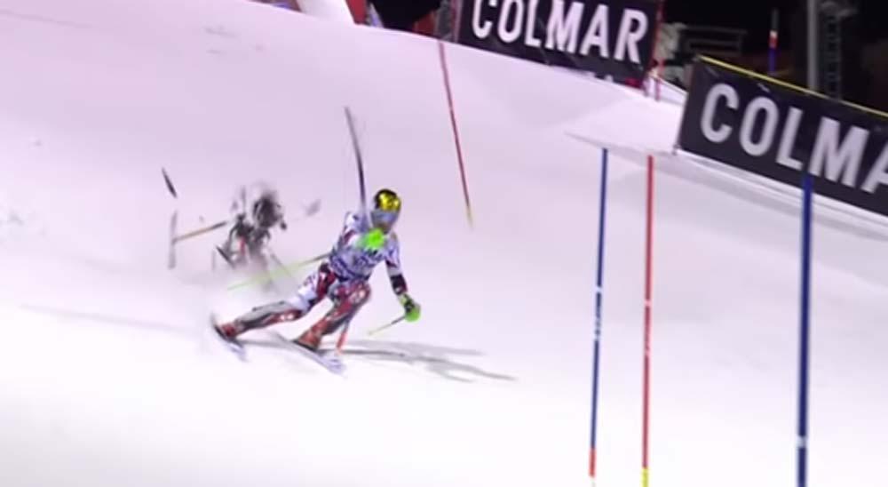 Un dron cae encima de un esquiador en plena competición 4