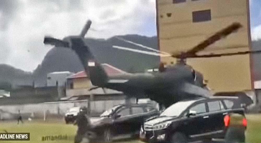 Un helicóptero pierde el control y destroza varios coches 2