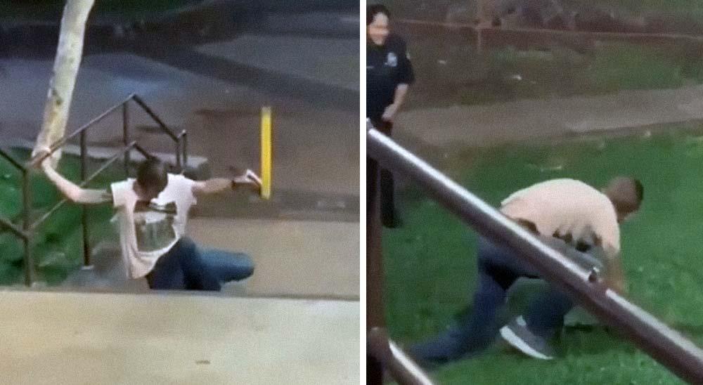 Este hombre borracho intentando escapar de la policía, es lo más cómico del día 2