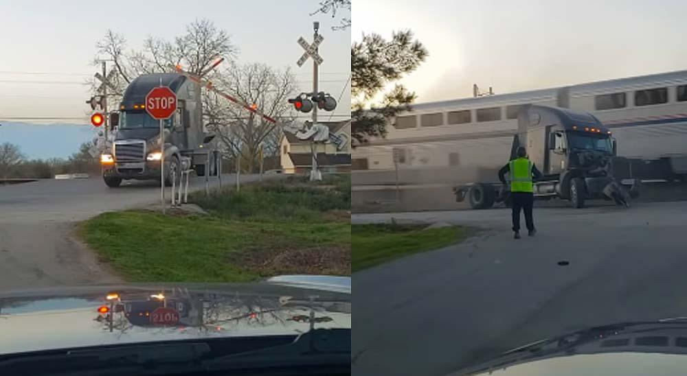 Un camión de 18 ruedas es arrollado por el tren 1