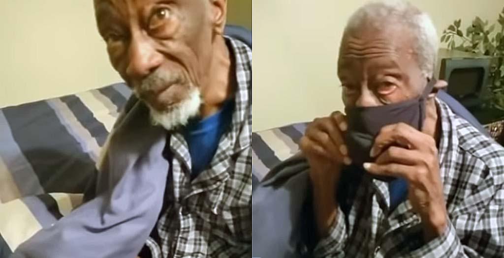 Abuelo prueba mascarilla contra el coronavirus hecha con un sujetador 2