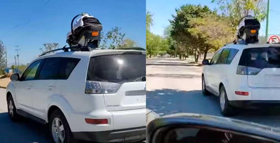 Conductor olvida a su bebé en el techo del coche 1